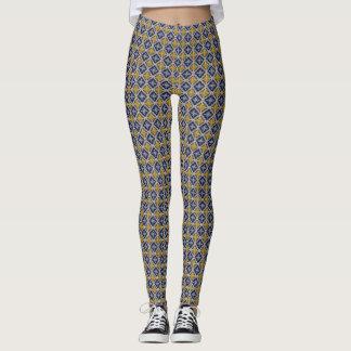 Caneleiras do teste padrão do design do azulejo de leggings