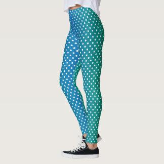 Caneleiras esverdeados e brancas azuis do teste leggings