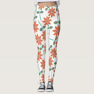 Caneleiras florais alaranjadas, brancas e verdes legging