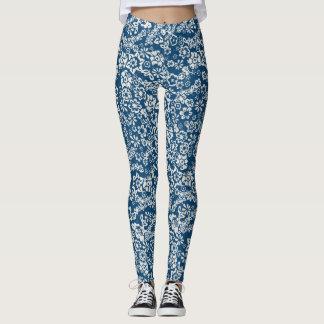 Caneleiras florais azuis do vintage legging