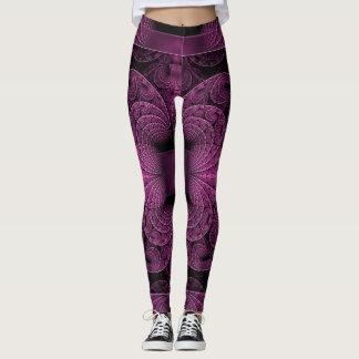 Caneleiras geométricas pretas roxas legal da arte leggings