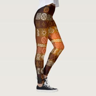 Caneleiras geométricas tribais do teste padrão de legging