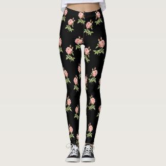 Caneleiras pretas do jardim de rosas leggings