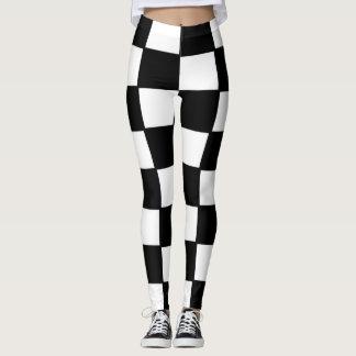 Caneleiras projetadas, quadrados, preto e branco legging
