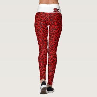 Caneleiras reais vermelhas & brancas da dor leggings