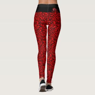 Caneleiras reais vermelhas & pretas da dor leggings