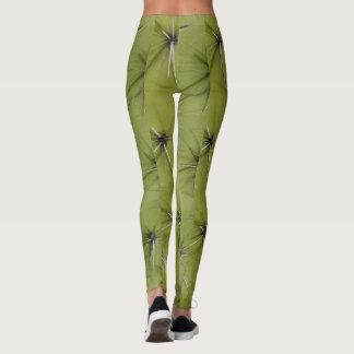Caneleiras verdes do impressão dos pricks do cacto legging