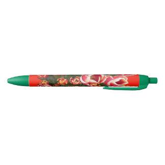 Caneta vermelha e branca do verde das tulipas