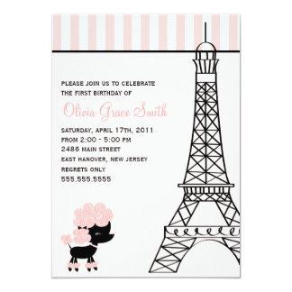 Caniche cor-de-rosa no aniversário de Paris Convite 12.7 X 17.78cm