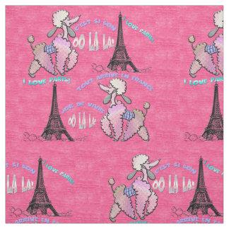 Caniche glamoroso em Paris no rosa da morango Tecido