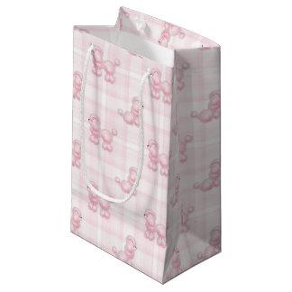 Caniches cor-de-rosa bonitos & verificações sacola para presentes pequena
