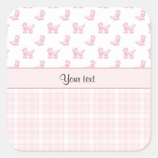 Caniches & verificações cor-de-rosa do rosa adesivo quadrado