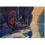 Canoa indiana do vintage que rema com símbolo de S Escultura De Fotos