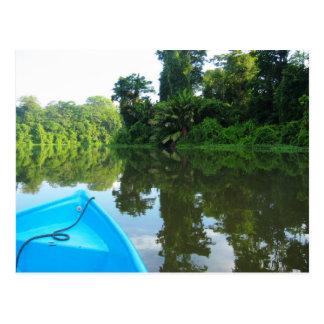Canoa no rio em Tortuguero, Costa Rica Cartao Postal