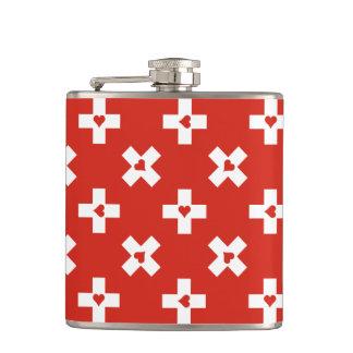 Cantil Bandeira da suiça com teste padrão do coração