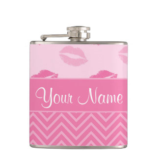 Cantil Beijos e ziguezagues rosa e branco