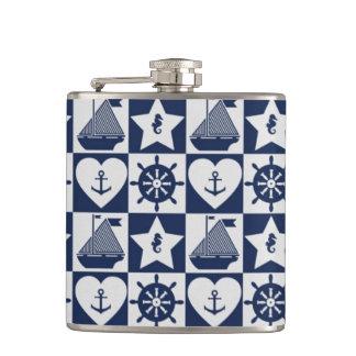 Cantil Branco náutico dos azuis marinhos checkered
