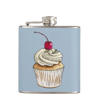 Cantil Cupcake da aguarela com chantiliy e cereja