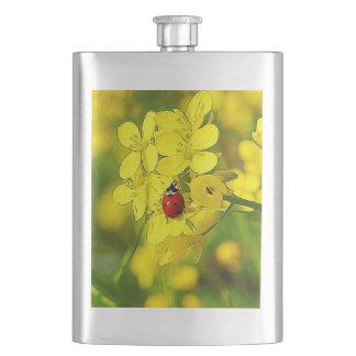 Cantil De Bebida Joaninha amarelo do vermelho da boa sorte da flor