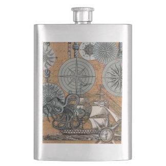 Cantil De Bebida Polvo náutico marinho do design do vintage do