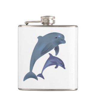 Cantil Dois golfinhos tropicais que saltam ao lado de se