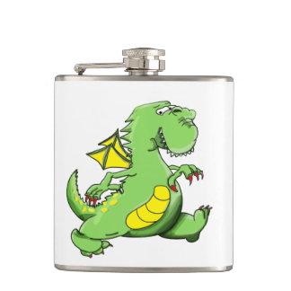 Cantil Dragão verde dos desenhos animados que anda em