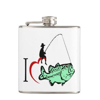 Cantil Eu amo ir pescar com um coração vermelho