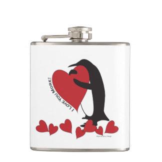 Cantil Eu te amo mais! - Corações vermelhos do pinguim