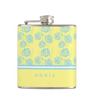 Cantil Floral brandamente azul e amarelo pálido