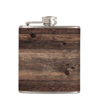 Cantil Garrafa antiga de madeira afligida do vintage