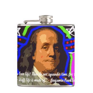 Cantil garrafa de Benjamin Franklin do pop art