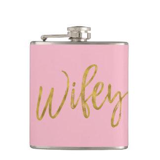 Cantil Garrafa de Wifey com roteiro e rosa da folha de