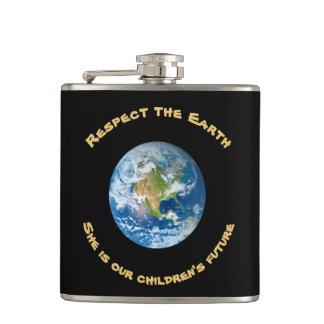 Cantil Garrafa futura da terra do planeta do respeito das