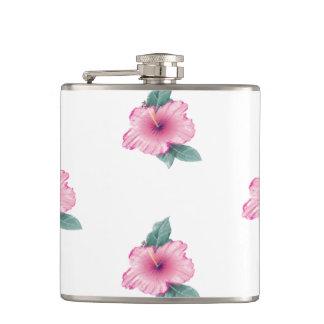 Cantil Garrafa tropical feminino do hibiscus 6oz do rosa