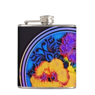 Cantil Hibiscus de néon no fundo preto