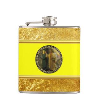 Cantil Jesus em sua folha de ouro da porta com textura