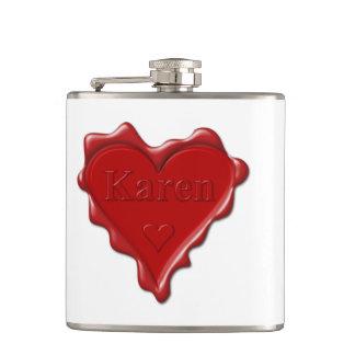 Cantil Karen. Selo vermelho da cera do coração com Karen