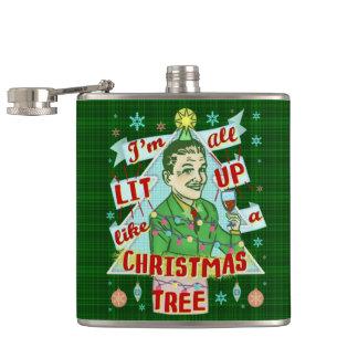 Cantil Lit retro do homem do humor do bebendo do Natal