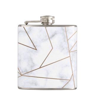 Cantil mármore branco geométrico do ouro cor-de-rosa