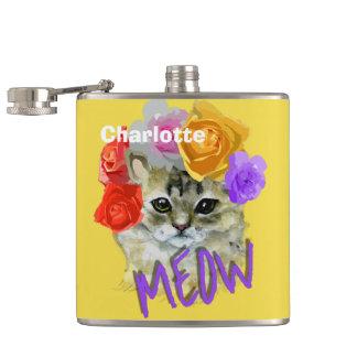 Cantil Meow cor-de-rosa florido da mantilha do gato