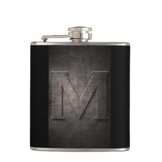 Cantil Metal preto de bronze - garrafa do monograma M