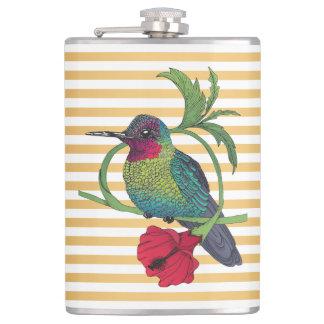 Cantil O ouro do pássaro de Colibri listra a garrafa da