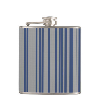 Blue steel gray awning stripe vinyl wrapped flasks