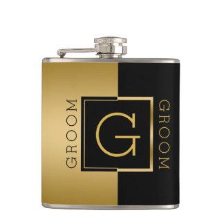 Cantil Ouro do noivo & design geométrico moderno preto