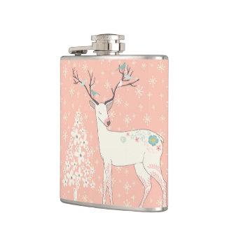 Cantil Rosa bonito da rena e dos flocos de neve