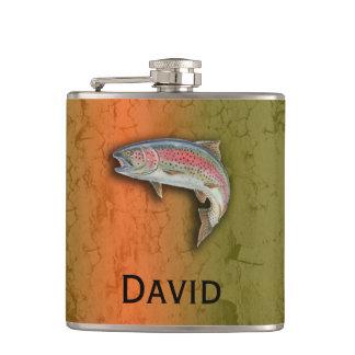 Cantil Seu nome nesta garrafa da truta de arco-íris