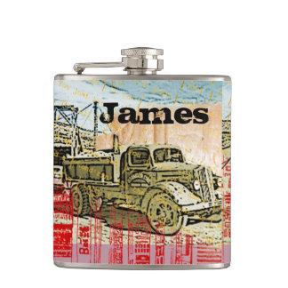 Cantil Seu nome nesta garrafa do caminhão do vintage
