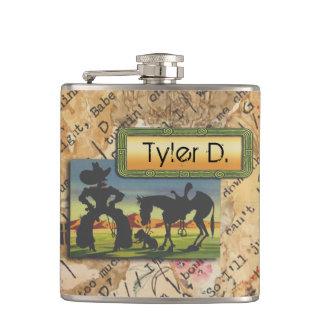 Cantil Seu nome nesta garrafa do caráter do vaqueiro
