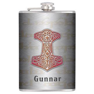 Cantil Seu nome nesta garrafa vermelha de Mjölnir