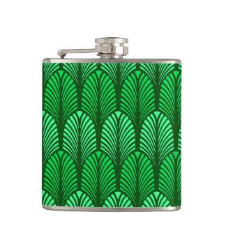 Cantil Teste padrão da pena do art deco, verde esmeralda